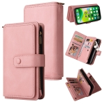 Skin Feel PU + TPU Horizontal Flip Leather Case with Holder & 15 Cards Slot & Wallet & Zipper Pocket & Lanyard For iPhone 13 mini(Pink)
