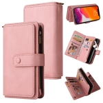 Skin Feel PU + TPU Horizontal Flip Leather Case with Holder & 15 Cards Slot & Wallet & Zipper Pocket & Lanyard For iPhone 12 Pro Max(Pink)