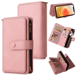 Skin Feel PU + TPU Horizontal Flip Leather Case with Holder & 15 Cards Slot & Wallet & Zipper Pocket & Lanyard For iPhone 12 / 12 Pro(Pink)