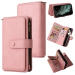 Skin Feel PU + TPU Horizontal Flip Leather Case with Holder & 15 Cards Slot & Wallet & Zipper Pocket & Lanyard For iPhone 11 Pro Max(Pink)