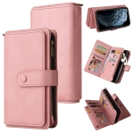 Skin Feel PU + TPU Horizontal Flip Leather Case with Holder & 15 Cards Slot & Wallet & Zipper Pocket & Lanyard For iPhone 11 Pro(Pink)