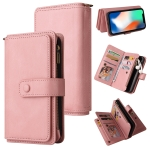Skin Feel PU + TPU Horizontal Flip Leather Case with Holder & 15 Cards Slot & Wallet & Zipper Pocket & Lanyard For iPhone X / XS(Pink)
