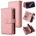 Skin Feel PU + TPU Horizontal Flip Leather Case with Holder & 15 Cards Slot & Wallet & Zipper Pocket & Lanyard For iPhone XR(Pink)