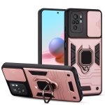For Xiaomi Redmi Note 10 Warrior Armor Sliding Camera Cover Design TPU + PC Shockproof Case with Ring Holder(Rose Gold)