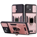 For Xiaomi Mi 11 Lite Warrior Armor Sliding Camera Cover Design TPU + PC Shockproof Case with Ring Holder(Rose Gold)