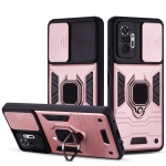 For Xiaomi Redmi Note 10 Pro Warrior Armor Sliding Camera Cover Design TPU + PC Shockproof Case with Ring Holder(Rose Gold)