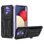 For Samsung Galaxy A02s EU Version Armor Card PC + TPU Shockproof Case with Card Slot & Invisible Holder(Purple)