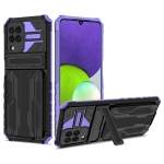 For Samsung Galaxy A22 4G Armor Card PC + TPU Shockproof Case with Card Slot & Invisible Holder(Purple)
