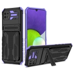 For Samsung Galaxy A22 5G Armor Card PC + TPU Shockproof Case with Card Slot & Invisible Holder(Purple)