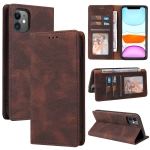 Simple Suction Closure Horizontal Flip Leather Case with Holder & Card Slot & Wallet For iPhone 11 Pro(Brown)