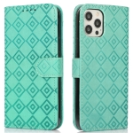 Embossed Big Small Concentric Squares Pattern Horizontal Flip Leather Case with Card Slot & Holder & Wallet For iPhone 12 Pro Max(Green)