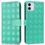 Embossed Big Small Concentric Squares Pattern Horizontal Flip Leather Case with Card Slot & Holder & Wallet For iPhone 11(Green)