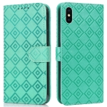 Embossed Big Small Concentric Squares Pattern Horizontal Flip Leather Case with Card Slot & Holder & Wallet For iPhone XS Max(Green)