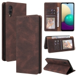 For Samsung Galaxy A02 Simple Suction Closure Horizontal Flip Leather Case with Holder & Card Slot & Wallet(Brown)