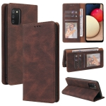 For Samsung Galaxy A02s Simple Suction Closure Horizontal Flip Leather Case with Holder & Card Slot & Wallet(Brown)