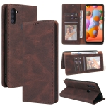 For Samsung Galaxy A11 EU Version Simple Suction Closure Horizontal Flip Leather Case with Holder & Card Slot & Wallet(Brown)