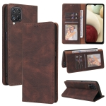 For Samsung Galaxy A12 Simple Suction Closure Horizontal Flip Leather Case with Holder & Card Slot & Wallet(Brown)