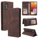 For Samsung Galaxy A32 Simple Suction Closure Horizontal Flip Leather Case with Holder & Card Slot & Wallet(Brown)