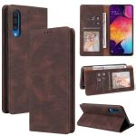 For Samsung Galaxy A50 Simple Suction Closure Horizontal Flip Leather Case with Holder & Card Slot & Wallet(Brown)