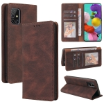 For Samsung Galaxy A51 Simple Suction Closure Horizontal Flip Leather Case with Holder & Card Slot & Wallet(Brown)