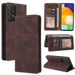 For Samsung Galaxy A52 5G / 4G Simple Suction Closure Horizontal Flip Leather Case with Holder & Card Slot & Wallet(Brown)