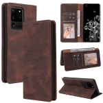 For Samsung Galaxy S20 Ultra Simple Suction Closure Horizontal Flip Leather Case with Holder & Card Slot & Wallet(Brown)