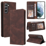 For Samsung Galaxy S21 FE 5G Simple Suction Closure Horizontal Flip Leather Case with Holder & Card Slot & Wallet(Brown)