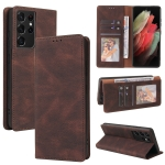 For Samsung Galaxy S21 Ultra 5G Simple Suction Closure Horizontal Flip Leather Case with Holder & Card Slot & Wallet(Brown)
