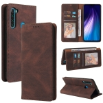 For Xiaomi Redmi Note 8 Simple Suction Closure Horizontal Flip Leather Case with Holder & Card Slot & Wallet(Brown)
