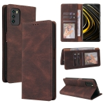For Xiaomi Poco M3 Simple Suction Closure Horizontal Flip Leather Case with Holder & Card Slot & Wallet(Brown)