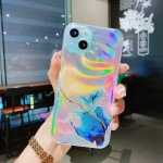 Laser Marble Pattern Clear TPU Shockproof Protective Case For iPhone 13(Blue)