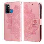 For Infinix Hot 9 / Note 7 Lite 7-petal Flowers Embossing Pattern Horizontal Flip PU Leather Case with Holder & Card Slots & Wallet & Photo Frame(Rose Gold)