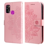 For Infinix Hot 9 Play 7-petal Flowers Embossing Pattern Horizontal Flip PU Leather Case with Holder & Card Slots & Wallet & Photo Frame(Rose Gold)