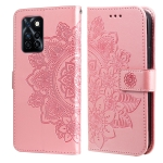 For Infinix Note 10 Pro NFC / Note 10 Pro 7-petal Flowers Embossing Pattern Horizontal Flip PU Leather Case with Holder & Card Slots & Wallet & Photo Frame(Rose Gold)