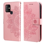 For Infinix Hot 10 7-petal Flowers Embossing Pattern Horizontal Flip PU Leather Case with Holder & Card Slots & Wallet & Photo Frame(Rose Gold)