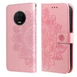 For Infinix Note 7 7-petal Flowers Embossing Pattern Horizontal Flip PU Leather Case with Holder & Card Slots & Wallet & Photo Frame(Rose Gold)