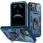 Sliding Camera Cover Design TPU + PC Protective Case with 360 Degree Rotating Holder & Card Slot For iPhone 12 / 12 Pro(Blue+Blue)
