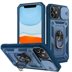 Sliding Camera Cover Design TPU + PC Protective Case with 360 Degree Rotating Holder & Card Slot For iPhone 11(Blue+Blue)