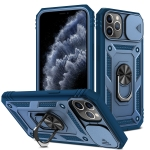 Sliding Camera Cover Design TPU + PC Protective Case with 360 Degree Rotating Holder & Card Slot For iPhone 11 Pro Max(Blue+Blue)