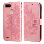 For Tecno Pop 2 F 7-petal Flowers Embossing Pattern Horizontal Flip PU Leather Case with Holder & Card Slots & Wallet & Photo Frame(Rose Gold)