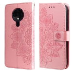 For Tecno Spark 6 7-petal Flowers Embossing Pattern Horizontal Flip PU Leather Case with Holder & Card Slots & Wallet & Photo Frame(Rose Gold)