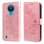 For Nokia 1.4 7-petal Flowers Embossing Pattern Horizontal Flip PU Leather Case with Holder & Card Slots & Wallet & Photo Frame(Rose Gold)