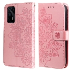 For OPPO Realme GT Master / Realme Q3 Pro 7-petal Flowers Embossing Pattern Horizontal Flip PU Leather Case with Holder & Card Slots & Wallet & Photo Frame(Rose Gold)