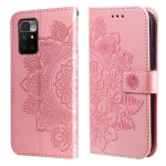 For Xiaomi Redmi 10 7-petal Flowers Embossing Pattern Horizontal Flip PU Leather Case with Holder & Card Slots & Wallet & Photo Frame(Rose Gold)