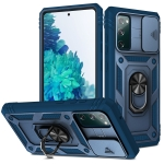 For Samsung Galaxy S20 FE Sliding Camera Cover Design TPU + PC Protective Case with 360 Degree Rotating Holder & Card Slot(Blue+Blue)