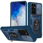 For Samsung Galaxy S21 Ultra 5G Sliding Camera Cover Design TPU + PC Protective Case with 360 Degree Rotating Holder & Card Slot(Blue+Blue)