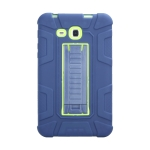 For Samsung Galaxy Tab A 7.0 T280 C5 Four Corners Shockproof Silicone + PC Protective Case with Holder(Navy Blue + Lemon Yellow)