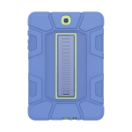 For Samsung Galaxy Tab A 9.7 T550 C5 Four Corners Shockproof Silicone + PC Protective Case with Holder(Navy Blue + Lemon Yellow)