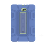 For Samsung Galaxy Tab A  10.1 T580 C5 Four Corners Shockproof Silicone + PC Protective Case with Holder(Navy Blue + Lemon Yellow)