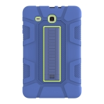 For Samsung Galaxy Tab E 9.6 T560 C5 Four Corners Shockproof Silicone + PC Protective Case with Holder(Navy Blue + Lemon Yellow)